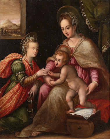 Circle of Prospero Fontana (Bologna 1512-1597) The Mystic Marriage of Saint Catherine, 58 x 46.5 cm. (22¾ x 18¼ in.)