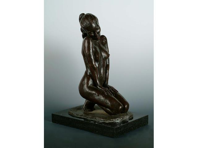 Enzo Plazotta (Italian, 1921-1981) Joni: Crouching Position, 1980, 32.4cm high