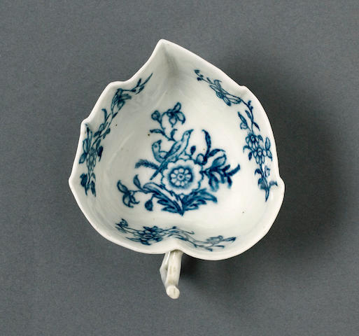 A Worcester butterboat circa 1758-60