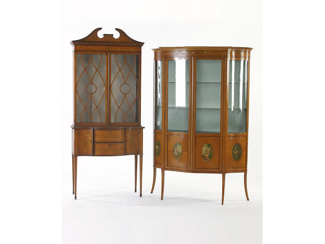 An Edwardian satinwood and inlaid display cabinet,