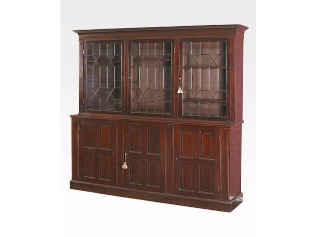 An Edwardian mahogany and boxwood line inlaid bookcase,