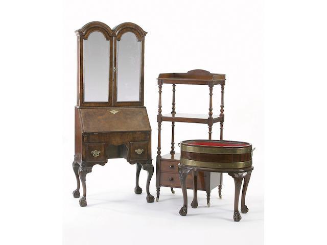 A walnut bureau cabinet, George I style,