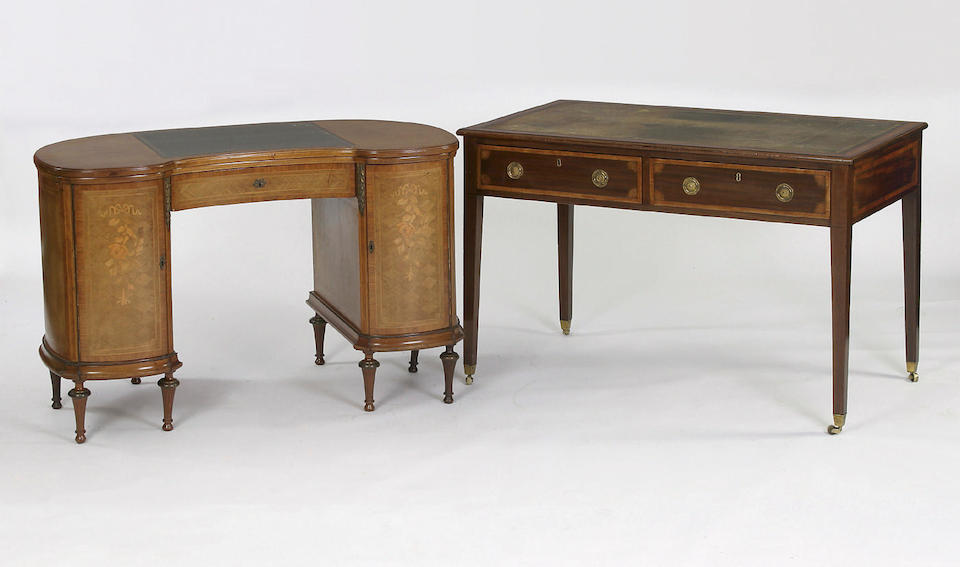 A late 19th Century marquetry gilt-metal mounted  kidney-shaped lady's writing desk,