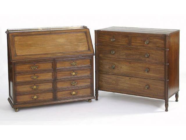 An Edwardian mahogany bureau,