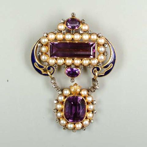 An amethyst, pearl, diamond and enamel brooch/pendant