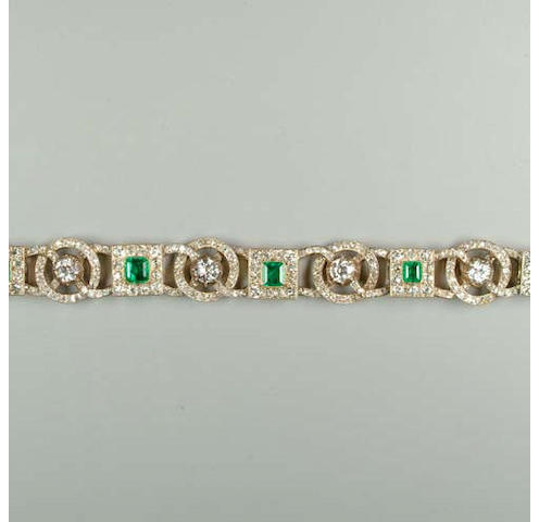 A late 19th Century emerald and diamond bracelet
