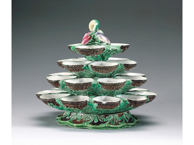 A Minton majolica oyster stand dated 1862