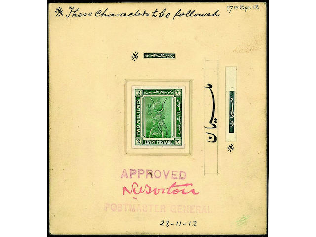 "Egypt: 1914 2m. design, photographic essay (120 x160mm, diagonal crease) with corrections for Arabic inscriptions mounted alongside, and essay proof in green mounted on thick card with hand-drawn corrections for Arabic inscriptions alongside, handstamped ""APPROVED/POSTMASTER GENERAL"" signed and dated, also a die proof of the corrected design in black on card. (874)"
