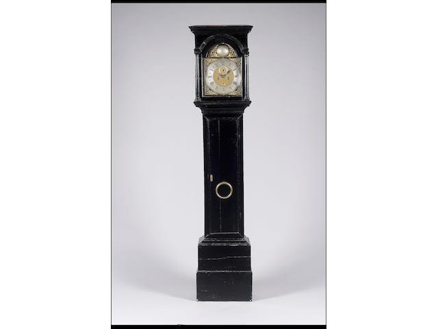 A mid 18th century ebonised oak longcase clock Jon. Withers, London, A Lamb of Covent Garden Precinct