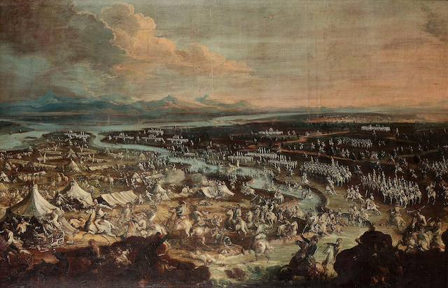 Austrian School, circa 1720 An extensive battlefield with a cavalry skirmish in the foreground, 146.2 x 241.6 cm. (57½ x 94 7/8 in.)