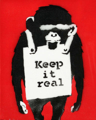 Banksy (British, b. 1975) 'Keep It Real' 25.2 x 20 cm
