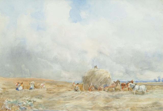 English School, 19th Century, Harvesting, 25 x 36 cm.