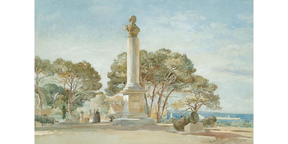 Edward Angela Goodall (British, 1819-1908) Public Gardens, Gibralter, 34.5 x 52 cm.