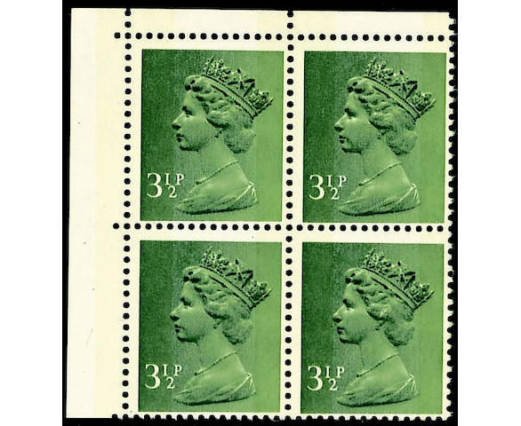 1971-2004 Machins 3½p. FCP/PVAD deep olive-brown error of colour in an unmounted mint top left corner block, off-centre as usual, light bend affecting two stamps leaving one with small surface fault, otherwise fine, very scarce. SG £3800.