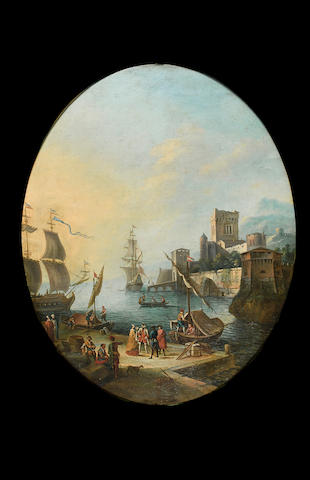 Follower of Adrien Manglard  A Mediterranean harbour with elegant figures and stevedores on a quay, moored shipping beyond 104 x 83.8 cm. (41 x 33 in.)