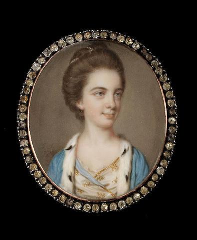 John Smart, Charlotte Palmer, née Gough, wearing blue-lined, gold-bordered white dress, further embr