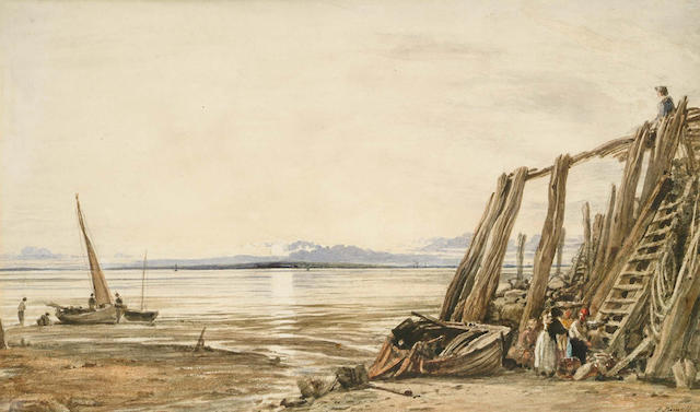 John Linnell (British, 1792-1882) Fisherfolk on the beach,signed and dated 1819, watercolour,