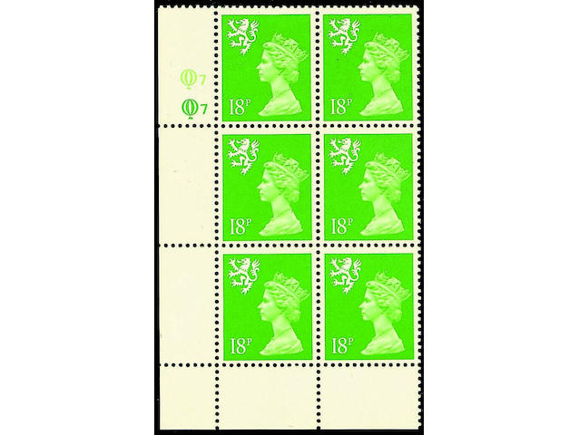 1971-2003 Regionals - Scotland 18p. bright green variety phosphor omitted in an unmounted mint Q7Q7 cylinder block of six, fine and very rare, probably unique, unpriced in SG.