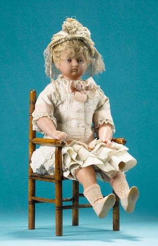 A rare poured wax portrait doll of Princess Louise, English circa 1845