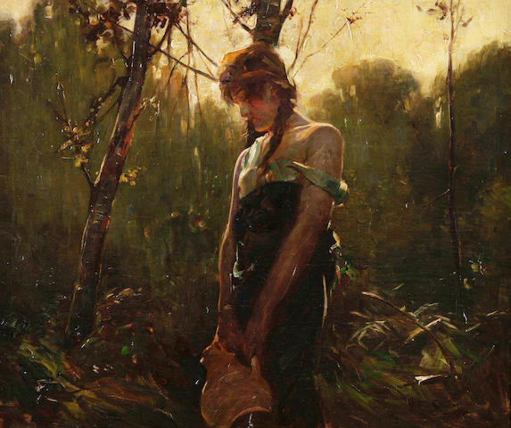 Arthur Spooner (British, 1873-1962) Girl in a wooded landscape 51 x 61.5cm.