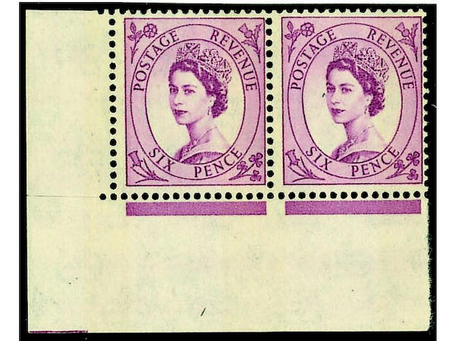 1952-67 Wildings: 6d. blue phosphor cream paper, bands applied typo, an unmounted mint lower left corner pair (mounted in margin) with left stamp showing the narrow 6mm band, margin at left cut to perfs. and tiny gum wrinkle on stamps otherwise fine, a rare item, unpriced in SG, B.P.A. Certificate (1993) for the cylinder block from which this pair comes.