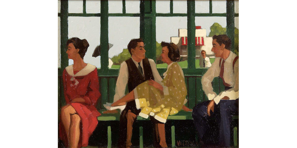 "Jack Vettriano OBE (b1954) ""And some they never do"" (study) 25 x 30cm (10x12"")"