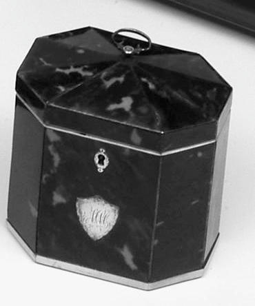 A small late 18th century octagonal tortoiseshell tea caddy,