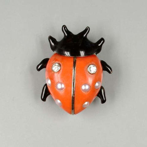 A coral, half pearl, diamond and enamel ladybird clip brooch by Cartier