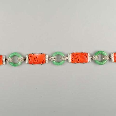 An art deco coral, jade and diamond bracelet