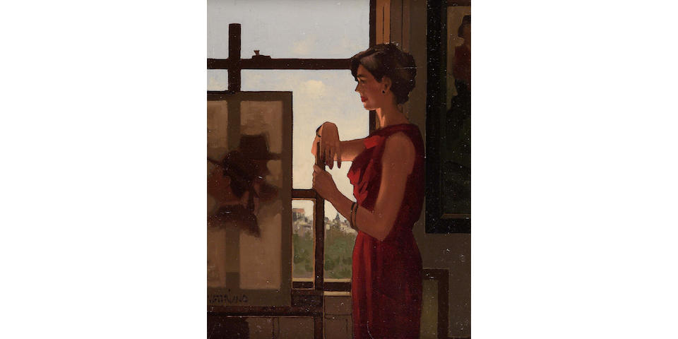 "Jack Vettriano OBE (b1954) ""Model by the easel"" (1993) 46 x 36cm (18x14"")"