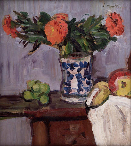 "George Leslie Hunter (1877-1931) Still life of marigolds and fruit 39 x 34cm (15.5x13.5"")"