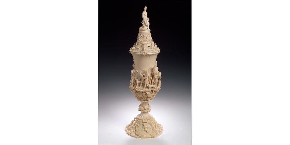 A very fine and large South German carved ivory Goblet and Cover,