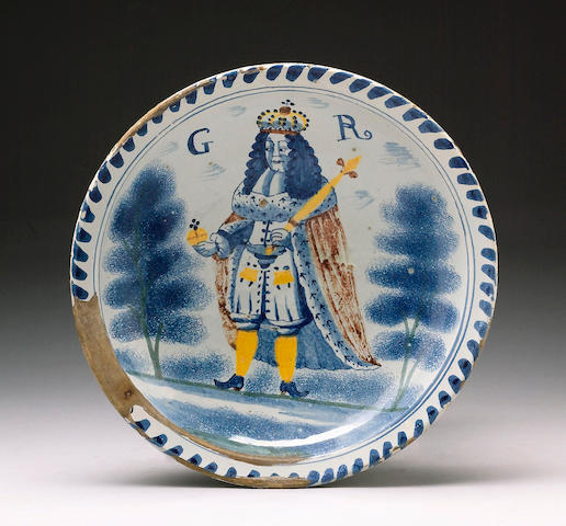 A English delft George I or George II coronation charger circa 1714-27