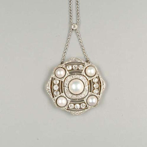 A belle epoque freshwater natural pearl and diamond pendant by David Andersen