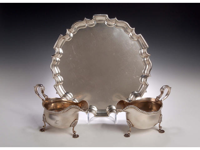 A pair of silver Sauce Boats, by JP&Co, London 1932,