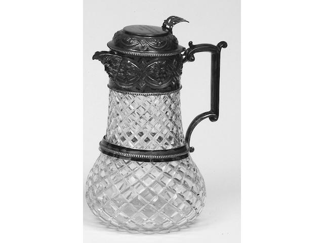 A late Victorian silver mounted glass claret jug, by William and George Sissons, Sheffield 1886,
