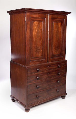 A Regency mahogany Linen Press 183cm high 109cm wide 64cm deep