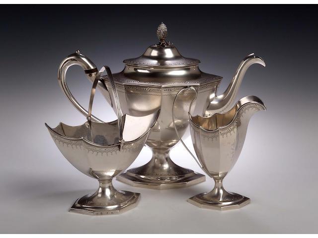 A George III three piece silver Tea Service, by William and Patrick Cunningham, Edinburgh 1788,