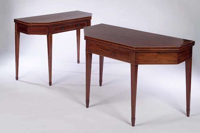 A late 18th Century Edinburgh mahogany and boxwood strung foldover tea table,