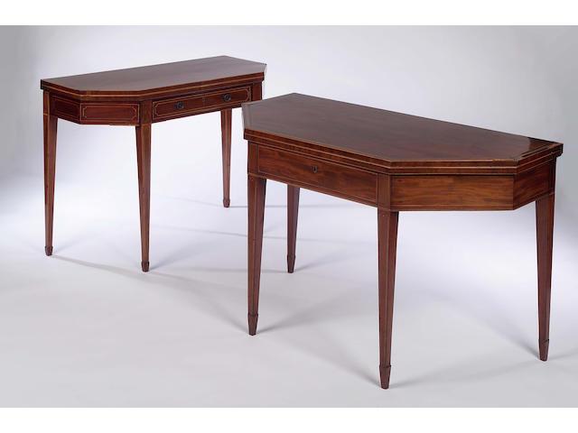 A late 18th Century Edinburgh mahogany and boxwood strung fold-over Tea Table,