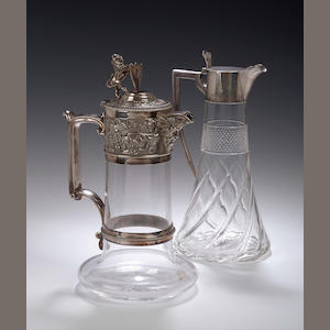 An epns mounted glass Claret Jug,