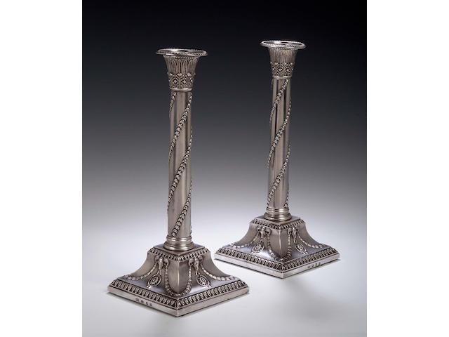 A pair of George III silver Candlesticks,, possibly John Hawkins, London 1818,