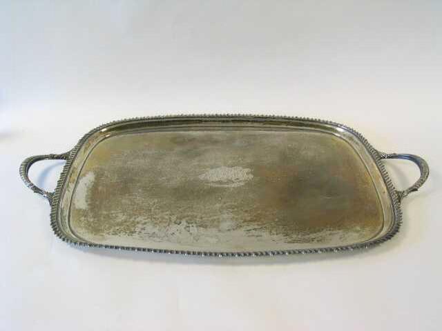 An Edwardian rectangular twin handled tray, Sheffield 1902,