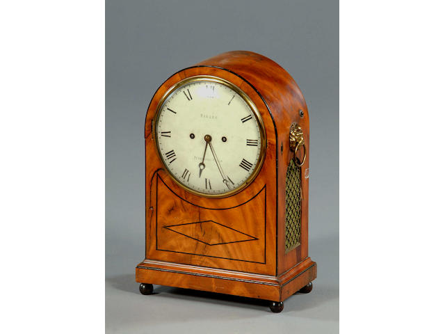 A late George III mahogany and ebony lined bracket clock