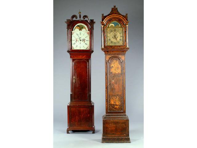 An early 19th century crossbanded oak and mahogany longcase clock