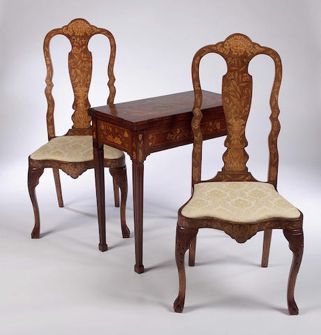 A mid 19th Century Dutch mahogany and marquetry fold-over Card Table,
