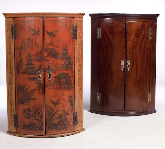 A George III mahogany hanging Corner Cupboard,
