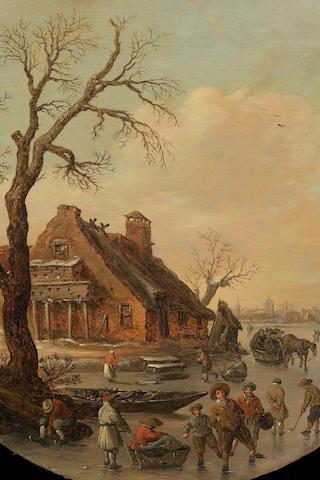 Jan Josefsz. Van Goyen A winter landscape with skaters on a frozen river, a farmhouse with a dovecot