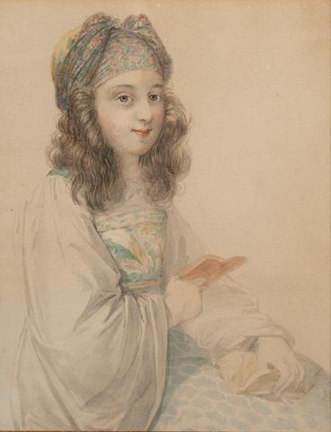 Johann-Nepomuk Ender (Austrian 1793-1854) Portrait of a Grecian girl holding a book 18 x 14 cm. (7 x 5 1/2 in.)