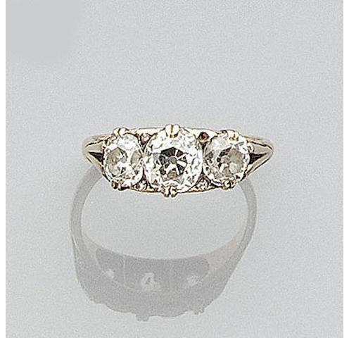 A diamond set three stone ring